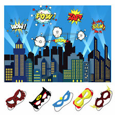 5x7ft City Photography Backdrop with Masks Superhero Background Kids Birthday