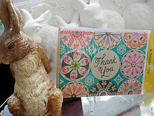 ❤️ HALLMARK expressions 6 BLANK NOTE CARDS THANK YOU GLITTER shabby chic ❤️