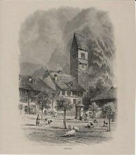Stampa antica veduta di UNTERSEEN Lago di Thun Berna Switzerland 1875 Old Print