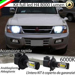 KIT FULL LED MITSUBISHI PAJERO 3 LAMPADE LED H4 6000K BIANCO GHIACCIO NO ERROR