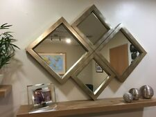 """THE INGLETON"" BRONZE/PALE GOLD DIAMOND WALL MIRROR 115 X 86 CM FREE P+P"