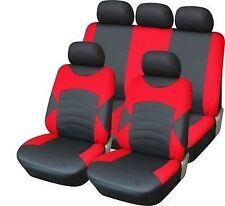 Universal de la mirada de cuero de lujo cubierta de asiento de Coche Set Completo Negro/Rojo-Alta Calidad