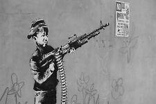 Banksy -Niño con metral Ed. 300 uds Firma impresa. Num. a lapiz. Certif. Edicion