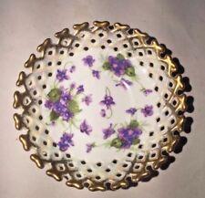 "Vintage White Porcelain Trinket Dish with Purple Violets & Gold Trim - 6"""