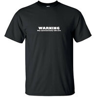 Warning may talk cars - Funny T-Shirt Adult Black White Custom