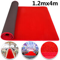 Red Carpet Aisle Floor Rug Party Decoration 3.9x13ft Soft Polyester  Solid Plain