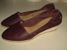 Etienne Aigne Classic Burgundy Leather Shoes Women Size 7.5 M Espardrille Wedges