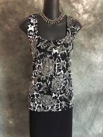 NEW BEAUTIFUL St John knit jacket black white silver shimmer top sz L 12 14