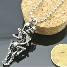 Unisex Gothic Punk Tibet Silver Steel Couple Skull Pendant Chain Necklace Gifts