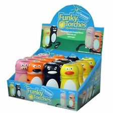 PACK OF 12 FUNKY TORCH KIDS NOVELTY LED DYNAMO POWERED WIND UP ANIMAL TRANIMAL12