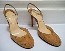 CHRISTIAN LOUBOUTIN tan natural cork slingback heels shoes Italian 38 WORN ONCE