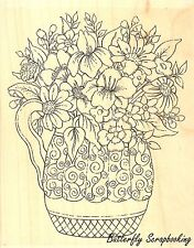 Flower Swirl Vase Wood Mounted Rubber Stamp IMPRESSION OBSESSION H16011New