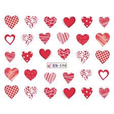 Nail Art Pegatinas Calcomanías de agua transfiere día de San Valentín Amor Corazones BN598