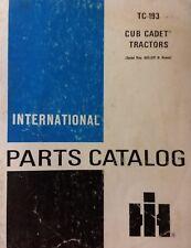 IH International Cub Cadet 82 Red Series Lawn Garden Tractor TC-193 Parts Manual
