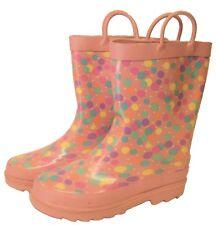 Kids Girls Multi Coloured Polka Dot Wellington Wellies Boots Size 13/1