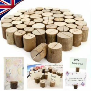 30/60 Wooden Table Card Stand Number Place Name Menu Holder Party Wedding Decor