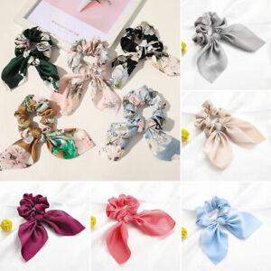 1PC Chiffon Bowknot Hair Tie Scrunchies Ponytail Holder Elastic Fabric Ribbon UK