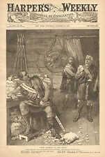 Political Cartoon, Boss Gorman In The Toils Vintage 1887 Antique Print