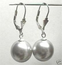 12mm Grey Shell Pearl Round Beads Drop Earrings AAA