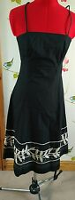 Great Plains black white applique dress size Small S 8/10 wedding holiday
