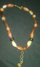 Polished Stone drop pendant Necklace, Fall Colored stones, 18 long