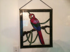 "Stained Glass Parrot Vintage Large Wall Hanging 20"" x 24"" Circa 1970s Sharp!"