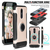 For LG Rebel 4/Phoenix 4/Fortune 2/Zone 4 Ring Holder Case With Screen Protector