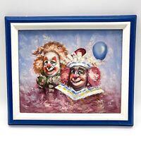 Vintage Moninet Ölgemälde Oil Painting - 2 Clowns mit Ballon signiert mit Rahmen