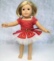 "American Girl 18"" Doll Clothes RUBY BALLET OUTFIT LEOTARD DRESS Russian Red Gold"
