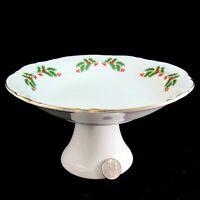 Christmas Holly 8 inch Pedestal Serving Bowl Kashima Porcelain Made in Japan