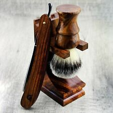 Pure Wooden Shaving Kit With Synthetic Brush & Barber Old Style Cut Throat Razor