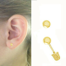 14K Solid Gold Ball Screw Back Baby Earrings 3mm Children's Studs