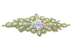 Green Colour Motif hand Sewing Iron on Bridal Dress belt Clothes Appliques