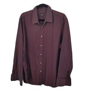 Hugo boss xl regular fit button down dress shirt mens burgundy embossed stripe