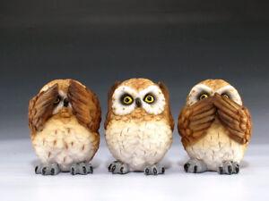 See Hear & Speak No Evil Owl Set Figurine Statue