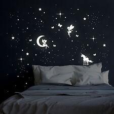 Leuchtsticker flureszierend Feen Elfen Sterne und Einhorn M2043