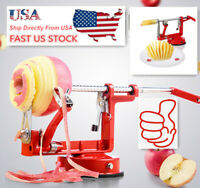 US 3in1 Stainless Steel Hand-cranking Apple Slicer Peeler Red Kitchen Tools Home