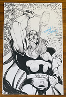 MIGHTY THOR COMIC BOOK ART PAGE SIGNED PRINT JOHN HEBERT 11x17 Marvel Mjolnir