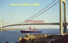 Verrazano-Narrows Bridge view from Staten Island, Ny S.S. United States passing