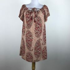 4736d20a9943c Madewell Dress M Silk Shift Short Slv Chiffon Red Pink Beige Paisley Floral  Mini