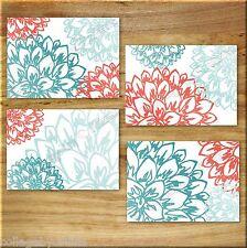 Teal Coral Aqua Turquoise Wall Art Prints Decor Peony Flower Floral Burst Dahlia