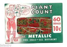 Vintage Christmas Gold & Silver Seals Santa Gift Horse Sealed Unused Book Stamps