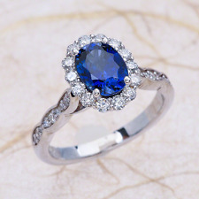 Vintage Scalloped Oval Blue Sapphire Engagement Ring in 14k White Gold 8x6mm