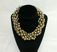 Vintage Ciner Chunky Twisted Beaded 6 Strand Gold Tone Blue Rose Choker Necklace