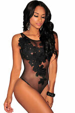XL Womens Black Floral Lace Embroidered Sheer Mesh Bodysuit Dance Party Leotard