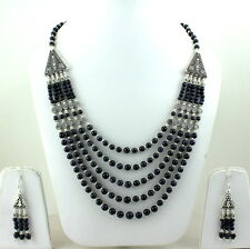 NATURAL BLACK ONYX GEMSTONE ROUND 4-7 MM BEADED NECKLACE & EARRINGS 81 GRAMS
