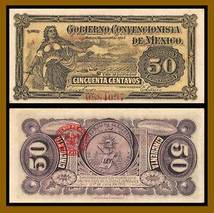 Mexico 50 Centavos, 1915 P-S882 (Serie A) Cobierno Convencionista Banknote (XF)