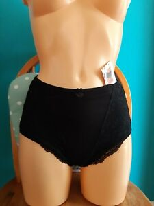 High waist control knickers Size 3XL Cotton Rich Light Control black pretty lace