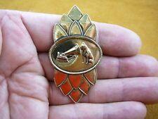 (B-dog-111) Nipper dog love terrier phonograph flower design brass pin brooch