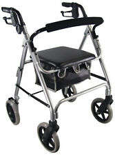 Walking Silver Rollator Mobility Aid W Bag Seat Brakes